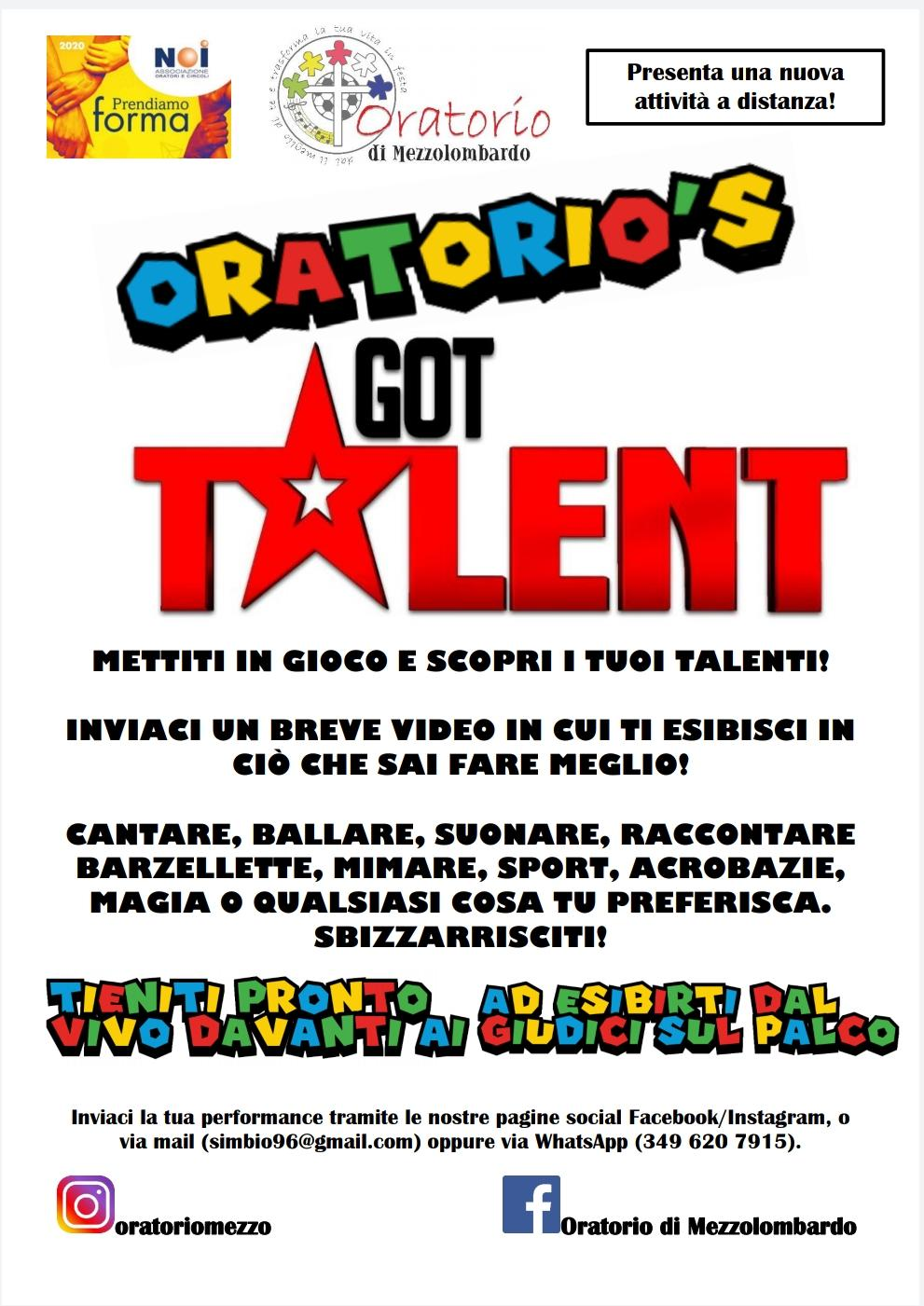 Concorso Oratorio's got talent Covid-19 2020